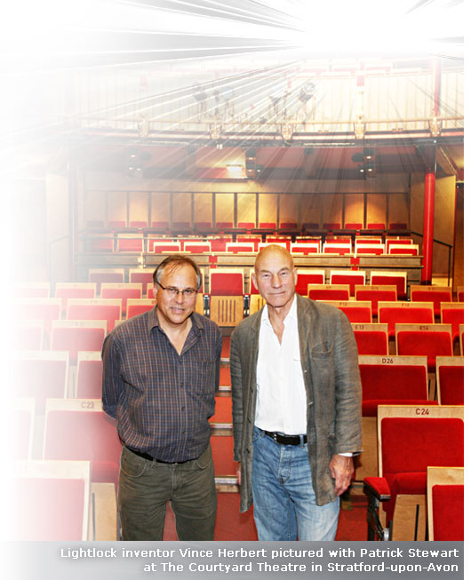 Lightlock inventor Vince Herbert pictured with Patrick Stewart at the Courtyard Theatre in Stratford-upon-Avon